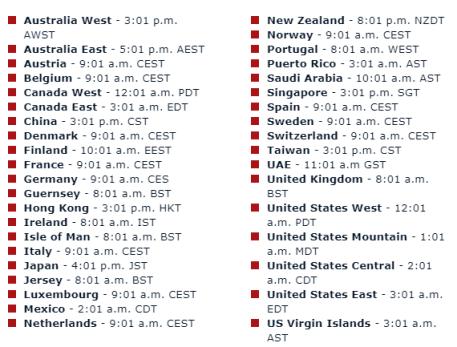 Image: MacRumors, list of timezones when Pre-orders begin